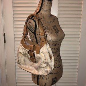 Coach Cream Sateen and Tan Patent Leather Purse